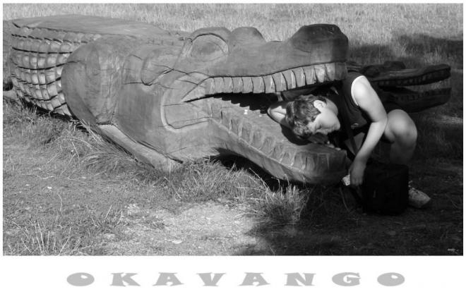 A tady je Luky v deltě řeky Okavango. To bude zase řečí...