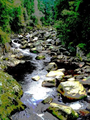Kdesi dole omýlá v hlubokém kaňonu obří kamenné obelisky slavná řeka Vydra.