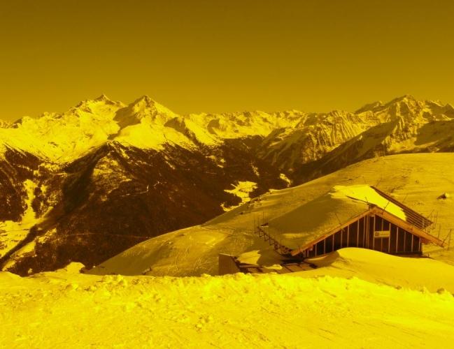 Rozhled ze Speikbodenu přes mé lyžařské brýle.
