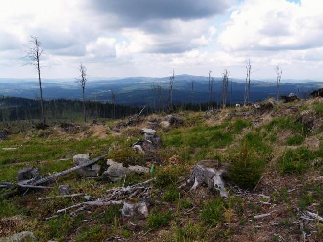 Od vrcholu je fantastický rozhled, alespoň jedno pozitivum po devastaci lesa Kirillem.
