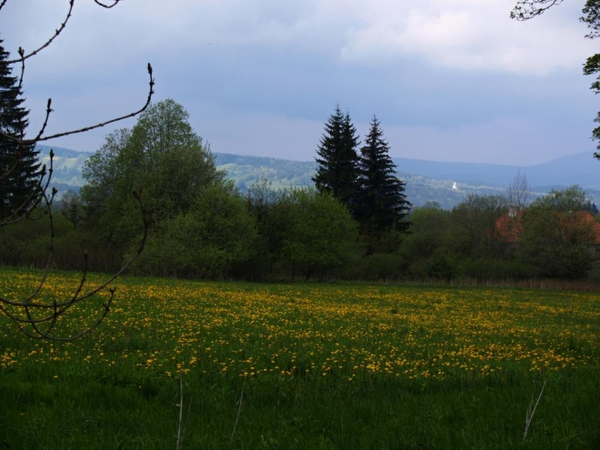 Po nedobrovolném vystěhování německého obyvatelstva v roce 1946 většina osad a samot postupně zanikla. Pro nové obyvatele přicházejících z Čech, Moravy, Slovenska a Rumunska za prací v zemědělství a v lesích se vystavěly nové byty. Na fotce od Křišťanova je dobře vidět kostel sv. Maří Magdaleny, kolem kterého jsme včera šli.