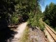 Teprve tady využíváme stezku, spíš pro pěší než cyklisty. Kamenitá cestička se vine kolem ještě kamenitějšího koryta řeky a také trati Lipno nad Vltavou - Rybník. Občas se musí z kola dolů, ale je to aspoň zábavné. Od zastávky Čertova stěna (ta bohužel přímo ze stezky vidět nebyla) pokračuje do Vyššího Brodu nová, rychlá asfaltka. Je také znát, že od Lipenské přehrady rychle klesáme.