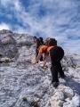 U Kaninu už začalo docela tvrdé a náročné lezení i s několika exponovanými místy.
