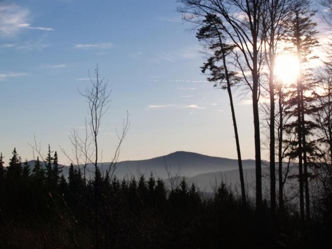 Z vrcholu se dostáváme na lesní cestu směřující přímo k dalšímu cíli - Pískovému kámenu. Na ten jsem zvlášť zvědavý, bude to prvovýstup! Cestou je hezky vidět nedaleký Chlum (1 191m) se sousedním, menším Velkým Plešným (1 066m).