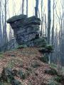Nedaleko od nás je i přírodní rezervace Jaronínské bučiny, kde by měly být zajímavé skalní útvary, stejně jako je tento.