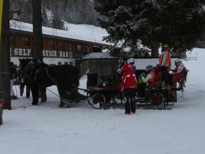 Jak celý den sněžilo, nebylo moc co fotit. Zaujal mě jen tento kočár s dětmi.