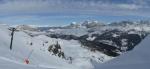 Ranní panoráma z Passo Pardon, přes které jsme se přehoupli opět směrem k naší oblíbené skupině Sella.