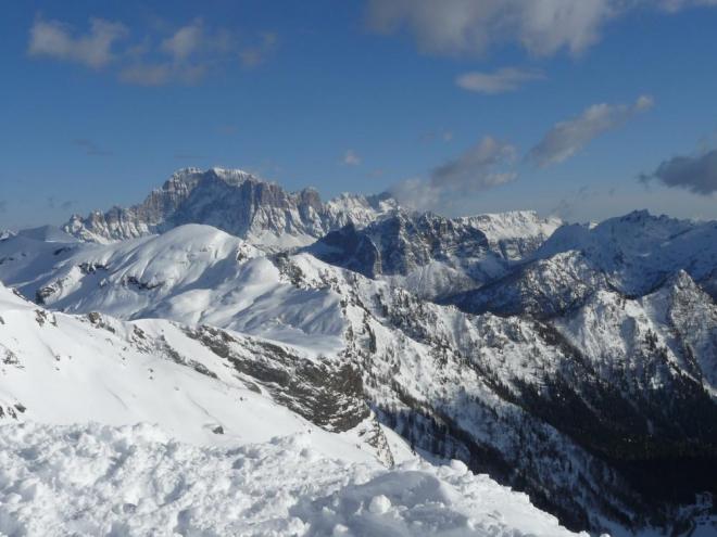 Poslední podvečerní rozhled na Dolomity
