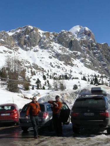 Dva hnědí medvědi v sedle Falzarego, když jsme zastavili při cestě zpět. Vyjeli jsme zrovna nad 2000 m n. m. a kousek od nás se lyžovalo. Byli jsme nad známým střediskem Cortina d'Ampezzo.