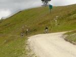 Cyklisti sjíždějící cestu pro downhillisty