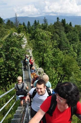 Takto vypadá vrcholový výstup na Trzy Korony (982m).
