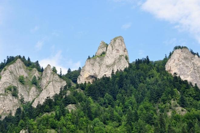 Vápencové bradlo ostře kontrastuje s okolními lesy a pokud je modré nebe, tak i s ním.