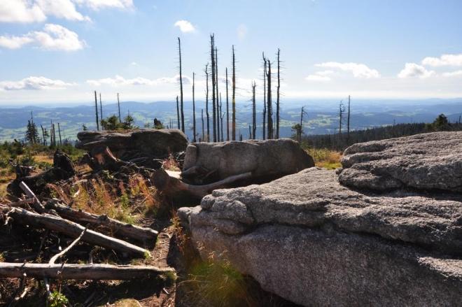 Kameny jsou rozesety po celém hřebenu.