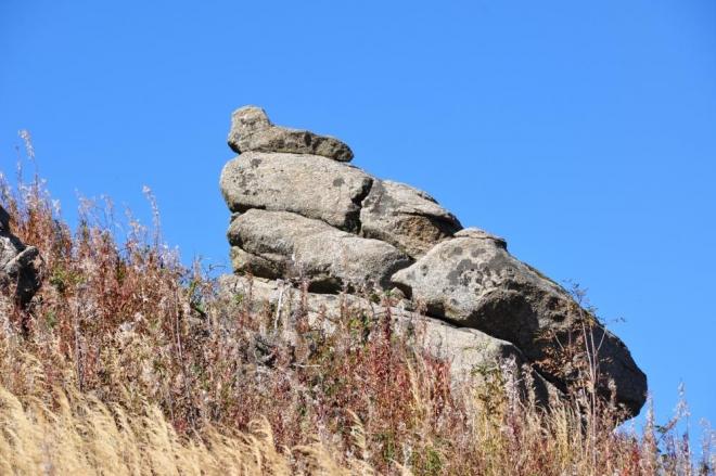 Skalní bloky jsou rozesety všude na svahu hory.