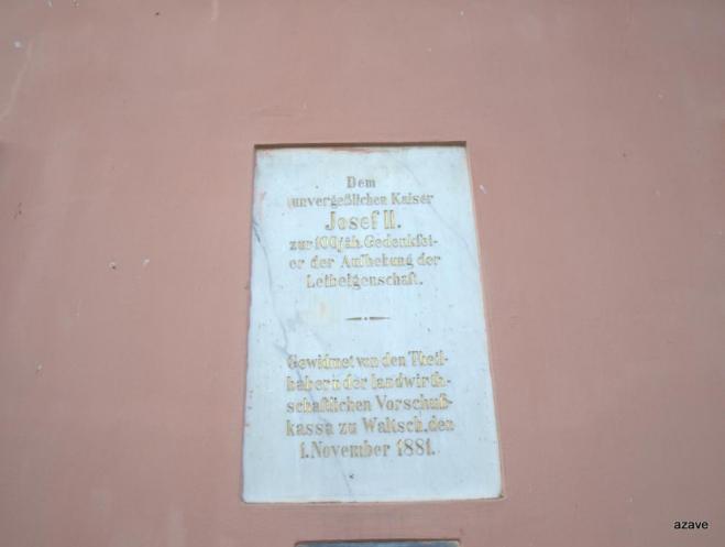 pamětní deska na počest zrušení nevolnictví Josefem II.
