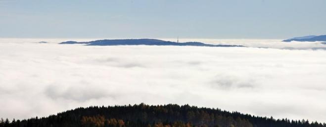 Inverze jako Brno... Mařský vrch.