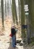 Nedaleko os rozhledny je na stromě u rozcestníku vrcholová kniha.
