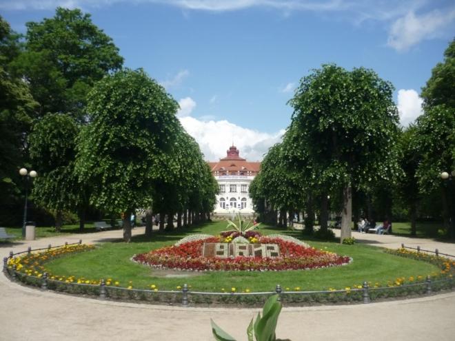 Květinový datum, v pozadí Alžbětiny lázně ve Smetanových sadech