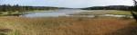 Panorama Dolního Padrťského rybníka z hráze Horního.