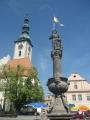 Kostelní věž s částí fontány