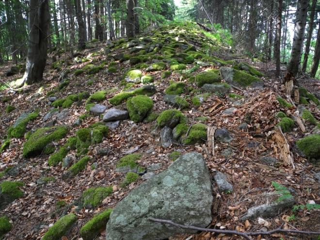Kamenné valy jsou kolem vrcholu v délce 1,5km.