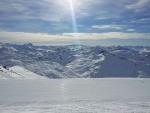 Odpolední pohled na hory v okolí Val Thorens