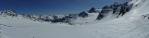 Panorama ledovce pod horou Pointe du Bouchet