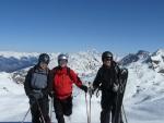 Naše parta, v pozadí opět Mont Blanc