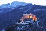 Zimní pohled na hrad Werfen.