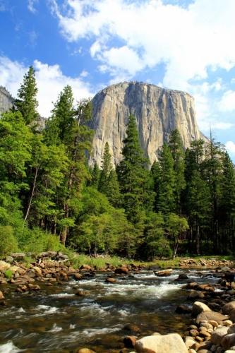 Národní park Yosemite - Merced River, v pozadí největší žulový monolit na světě El Capitan. Kolmá stěna, od úpatí měřící cca 1000 m, je každoroční výzvou pro řadu horolezců. Výstup trvá 4 až 7 dní, nocuje se ve stěně.