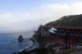 Slavný most Golden Gate v San Francisku. Po celou dobu jsme viděli pouze  tohle z mlhy vyčnívající torzo. Tím byly naše fotografické aktivity prvního vyčerpány.
