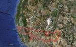 Přibližná trasa, její celková délka 3014 mil (4849 km)