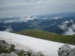 Sněhové pole u chaty Fischerhütte