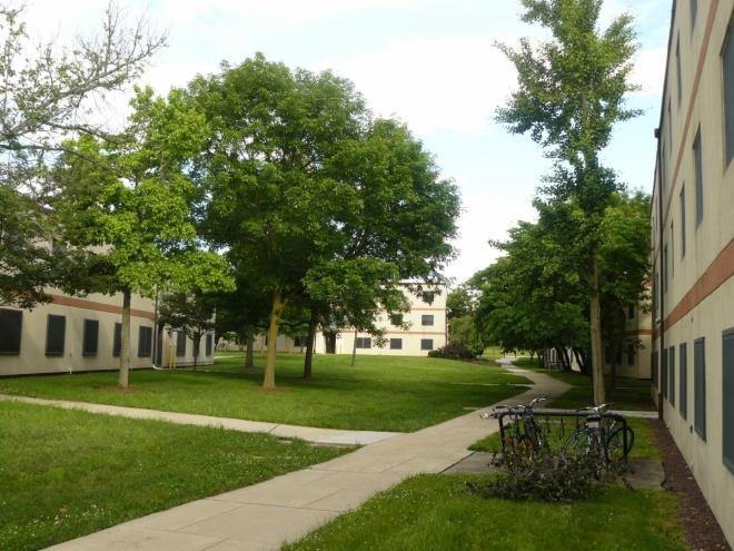 Kampus a okolí Nicholas apartments, v nichž jsme bydleli.