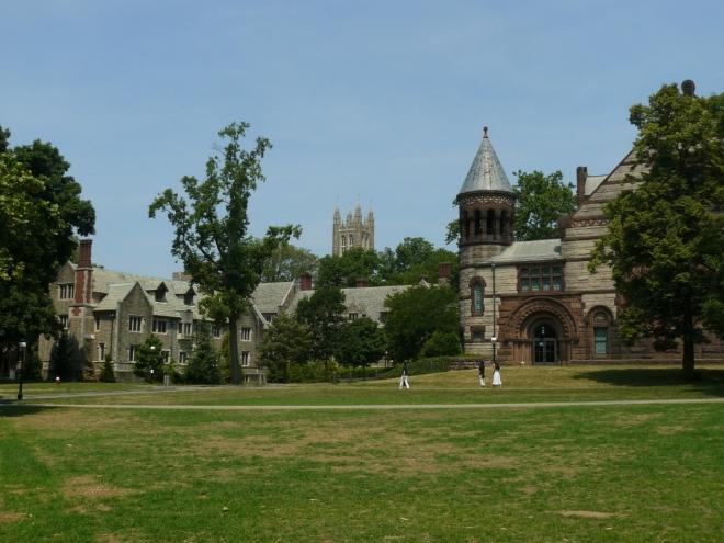 V kampusu jsou i volná travnatá prostranství, ale žádná parkoviště, což se mi líbilo.
