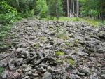 Toto kamenné moře je nejspíš výtvorem lidí. Sestoupili jsme totiž ke Stodůlkám, které měly svahy hojně zastavěné. Dnes nezbyl jediný domek, vnímat můžete jen několik ruin a zbytků zdiva okolo cesty.