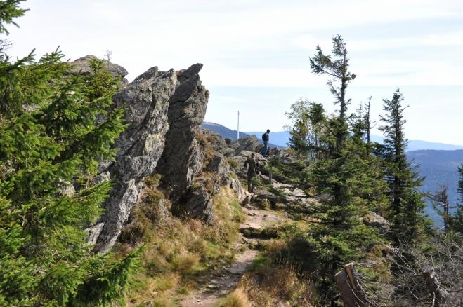Již první pohled na vrcholové skály Velkého Ostrého je nezapomenutelný. Poprvé jsem k němu dorazil v říjnu 1990 po česko-německé hranici z Velkého Javoru. Tehdy to byl skutečně průkopnický čin a trasa podél šumavských hranic úžasná. Vyšli jsme z Přední Výtoně a postupně zdolali Plechý, Trojmeznou, Třístoličník, Luzný, Roklan, Poledník, Velký Javor, Jezerní horu a Ostrý, abychom po týdnu došli do Zelené Lhoty.