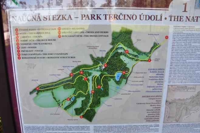 Z náhledu fotky vypadá mapka Terčina údolí jako čarodějnice na koštěti. Pravdou je, že jsme po cestě zažili leccos...