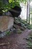 I další cesta vede kolem skal, některé jsou osazeny i kruhy pro lezení.