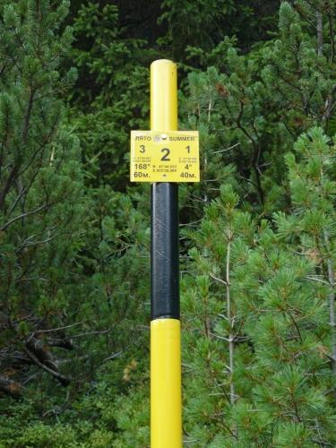 Orientační tyče jsou u cesty od chaty Demjanica nahoru po max. 100 metrech a tato je 2. z minimálně 20. Na sobě mají GPS souřadnice své i sousedních tyčí. Také je na nich azimut a vzdálenost k sousedním tyčím. Tomu říkám propracovaný systém navigace v mlze.