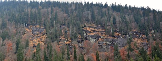 Pod vrcholem Mittagsplatzelu je dobře viditelná skalní stěna-Seewänd. Nahoru vede od jezera jistě velmi zajímavá stezka. Tak snad někdy příště...