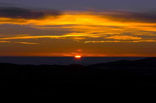 Východ slunce z Boubínské rozhledny