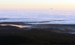 Pohled z Boubínské rozhledny - Lažiště, vpravo nahoře oblak nad Temelínem