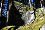 Vlčí kámen. Nejvyšší bod je sice jinde, ale podle těchto kamenů se vrchol zřejmě jmenuje. Jistě by se tu nějaké doupě našlo.