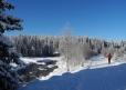Z Modravy kvalitní stopa míří podle Roklanského potoka k Rybárně a Javoří pile. Azurově zbarvené nebe skvěle kontrastuje s jiskřivě bílým sněhem.