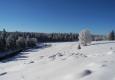 Sněhová pokrývka není nijak vysoká a tak se v terénu tvoří na trsech trav fotogenické boule, které zvýrazňuje nízké slunce.