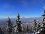 Dole pod horami je tmavá mlha, která místy vystupuje i do vyšších poloh. Díky ní a překážejícím polomům, jsme v l. zóně NP a padlé kmeny musí zůstat na místě, žádné fotky okolních hor nedělám.