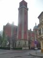 Nový evangelický kostel při západu slunce