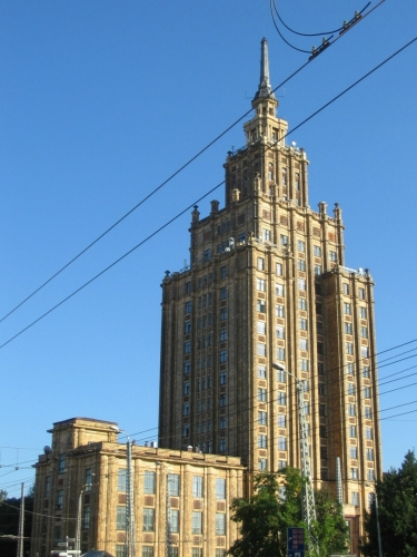 Lotyšská akademie věd vybudovaná v padesátých letech