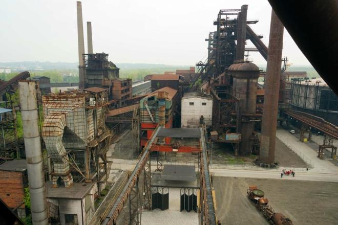 výhled ze skipového výtahu na areál Dolních Vítkovic